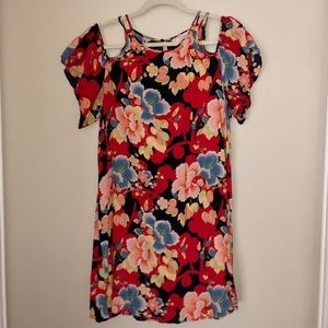 Loft floral cold shoulder dress